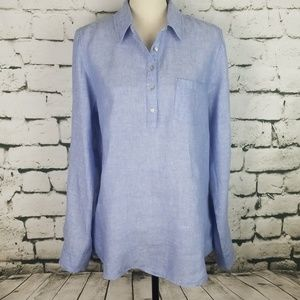 Jones New York 100% Linen Tunic Top Large